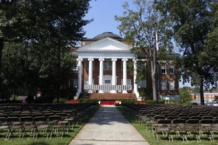 Hopwood Hall before Convocation. Photo by Savannah Martin. Aug. 19, 2017.