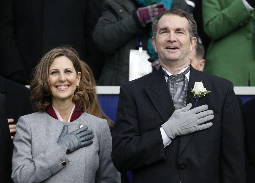 Ralph Northam and his wife, Pam, at the Inaugural Ceremonies where he is sworn in as the 73rd Governor of Virginia. Jan. 13, 2018. Retrieved from Richmond-Times Dispatch