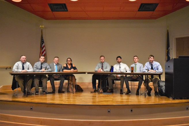 From Left to Right_ Brandon Terrell, Andrew Payne, Carter Elliott, Lauren Fishbein, Will Bonnet, Chris McCaskill, Brandon Perkins, Logan Hancock. Photo taken by Disa Woodland, April 18,