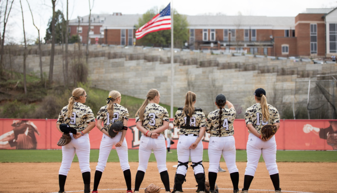 Starters pause for the National Anthem. Photo retrieved from lynchburg sports.com. April 14, 2018.